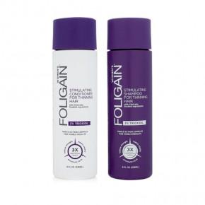 Foligain Stimulating Hair Shampoo & Conditioner for Thinning Hair with 2% Trioxidil Palsam ja šampoon naistele