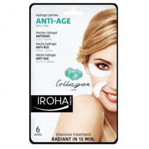 IROHA Eye Pads Antiage collagen Eye & Lips Silmade ja huulte padjad koos kollageeniga 6 tk